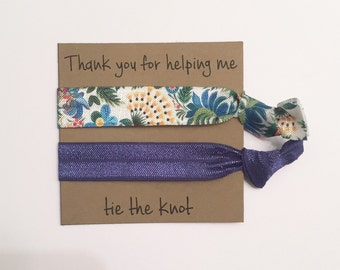 Bridesmaid hair tie favors//hair tie card, hair tie favor, party favor, bridesmaid gift, bachelorette gift, elastic hair ties