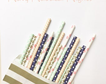 25 Navy Nautical Nights//paper straws, straws, party decorations, party supplies, wedding, baby shower, birthday party, wedding shower, deco