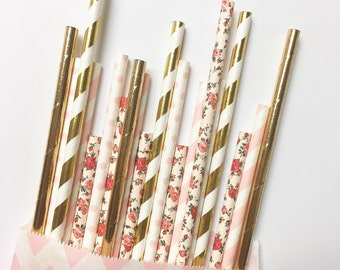Golden Pink Rose straw mix//straws, paper straws, party supplies, party decorations, birthday party, wedding, baby shower, decor