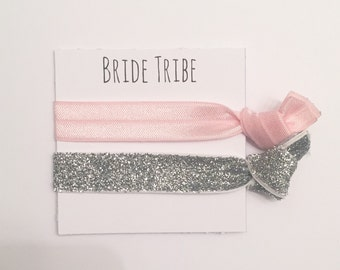 Bridesmaid hair tie favors//light pink thick silver glitter//hair tie card//hair tie favor//bridesmiad gift//party favor