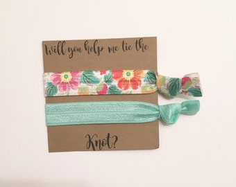 Bridesmaid hair tie favors//elastic hair ties, hair tie favor, hair tie card, bridesmaid hair ties, bridesmaid gift, party favor, bridesmaid