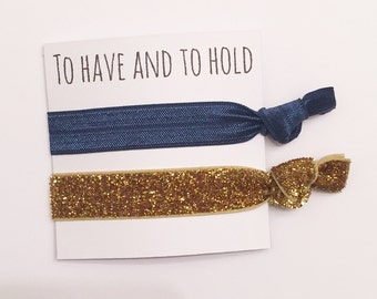 Bridesmaid hair tie favors//navy & thick gold//party favor, bridesmaid hair ties, party favor, hair tie card, hair tie favors, bachelorette