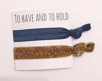 Bridesmaid hair tie favors//navy & thick gold//party favor, bridesmaid hair ties, party favor, hair tie card, hair tie favors, bachelorette