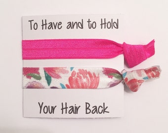 Bridesmaid hair tie favors//hot pink floral//bridesmaid gift//party favor//hair tie card//hair tie favor