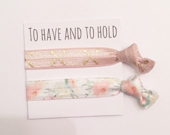 Bridesmaid hair tie favor//tea rose arrow orange blossom//hair tie card//party favor//hair tie favor//bridesmaid gift