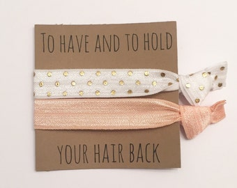 Bridesmaid hair tie favors//peach & white gold dot, party favor, hair tie card, hair tie favor, bridesmaid gift, bachelorette gift, elastic