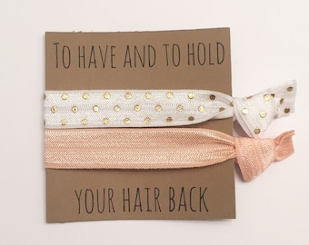 Bridesmaid hair tie favors//peach & white gold dot, party favor, hair tie card, hair tie favor, bridesmaid gift, bachelorette gift, elastic