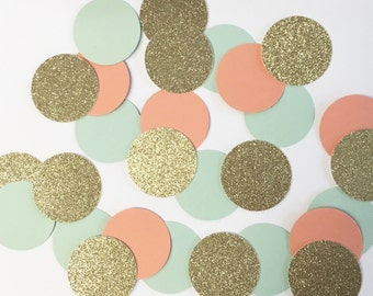 Gold, mint & coral confetti//confetti, table decor, party decorations, baby shower, bridal shower, bachelorette party, wedding, bride