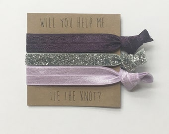 Bridesmaid hair tie favors//hair tie card, hair tie favor, bachelorette party, bridesmaid hair ties, wedding, party favor
