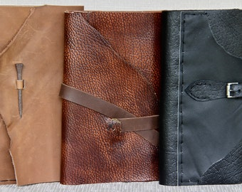 Leather Handsewn Notepad Wallets - Assorted Leathers