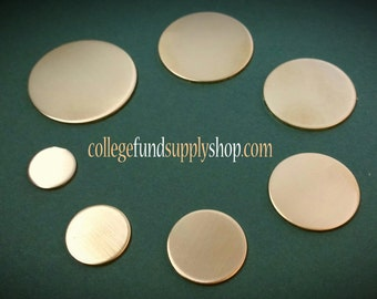 """1 1/4"""" NUGOLD 18 g. SETS OF 3 stamping discs,  1.25"""" round blank, disc for etching, metal supply shop, jewelry supply, hand stamping"""