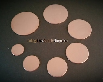 """1 1/4"""" COPPER 18 g. SETS OF 3 stamping discs,  1.25"""" round blank,   disc etching, metal supply shop, jewelry supply, hand stamping, circle"""