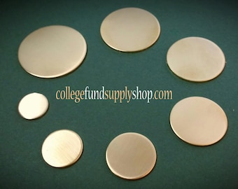 """1/2"""" NUGOLD 18 g. SETS OF 3 stamping discs,  1/2"""" round blank,  disc for etching, metal supply shop, jewelry supply, hand stamping"""