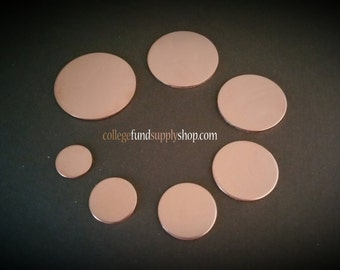"""18g, 5/8"""" COPPER blanks, SETS OF 3 stamping discs,  5/8"""" round blank, disc for etching, metal supply shop, jewelry supply, hand stamping,"""