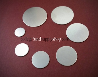 """1"""" ALUMINUM 18 g. SETS OF 3 stamping discs, stamping blank, one inch, disc etching, metal supply shop, jewelry supply, handstamping blanks"""