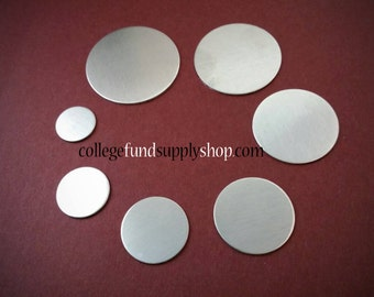 """1 1/8"""" ALUMINUM 18 g. SETS OF 3 stamping discs,  one inch, disc for etching, metal supply shop, jewelry supply, hand stamping"""