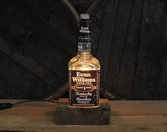 Evan Williams Bourbon Bottle Lamp - Features Reclaimed Wood Base, Edison Bulb, Twisted Cloth Wire, Upcycled Light, Father's Day Gift