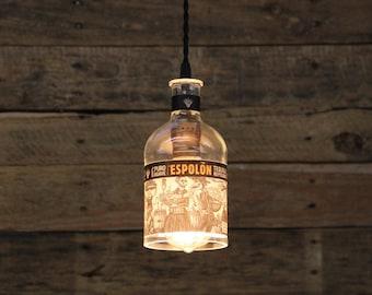 Espolon Tequila Bottle Pendant Light - Upcycled Industrial Hanging Light - Handmade Bottle Light Fixture, Dorm Lighting, Father's Day Gift