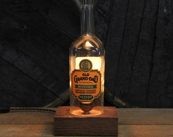 Old Grand Dad Bourbon Bottle Lamp / Whiskey Bottle Light, Bourbon Light, Gift For Guy, Whiskey Gifts, Man Cave, Father's Day Gift