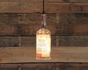 Wild Turkey Bourbon Bottle Pendant Light, Upcycled Industrial Hanging Light ,Handmade Whiskey Bottle Light Fixture, Bar Lighting, Man Cave