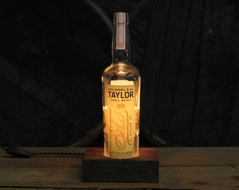 Colonel E.H. Taylor Bourbon Lamp / Whiskey Bottle Light / Bar Lighting / Reclaimed Wood Base, Edison Bulb, Twisted Cloth Wire / Whiskey Gift