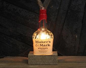 Maker's Mark Bourbon Bottle Lamp - Whiskey Bottle Light, Desk Lamp, Bourbon Gifts, Upcycled Lighting, Man Cave Lighting, Father's Day Gift