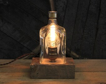 Elmer T. Lee Bourbon Bottle Lamp - Rustic Desk Lamp, Reclaimed Wood Base, Edison Bulb, Upcycled Light, Whiskey Bottle Light, Bourbon Lamp
