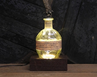 Blanton's Bourbon Bottle LED Light / Reclaimed Wood Base LED Desk Lamp / Handmade Tabletop Lamp / Upcycled Bourbon Bottle Lighting / Custom