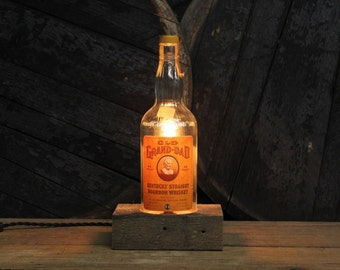 Handmade Recycled Antique Old Grand-Dad Bourbon Bottle Desk Lamp-Features Reclaimed Wood Base, Twisted Cloth Wire, Father's Day Gift