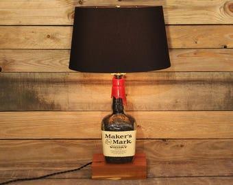 Maker's Mark Whisky Bottle Table Lamp, Bourbon Barrel Char, Unique Desk Lamp, Whiskey Bottle Lamp, Bar Decor, Man Cave, Father's Day Gift