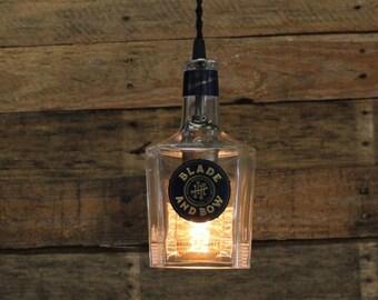 Blade & Bow Pendant Light / Whiskey Bottle Light, Bourbon Bottle Handmade Hanging Lamp, Bar Lighting, Restaurant Lighting, Kitchen Lighting