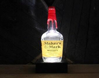 Maker's Mark Whisky Bottle Light / Bourbon Bottle Light, Whiskey Bottle Lamp, Bourbon Gift, Whiskey Gifts, Bar Lamp, Father's Day Gift
