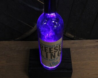 502 ReeseLing Wine Bottle LED Light / Reclaimed Wood Base & LED Desk Lamp / Handmade Tabletop Lamp / Upcycled Wine Bottle Lighting / Custom