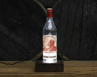 Pappy Van Winkle (20 Year) Bourbon Bottle Light / Reclaimed Wood Base / LED Desk Lamp / Handmade Lighting / Upcycled Bourbon Bottle Lamp