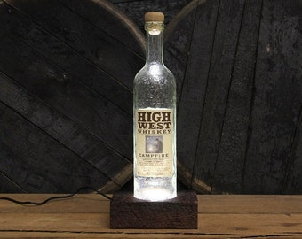 High West Bourbon LED Light / Reclaimed Wood Base Desk Lamp / Handmade Tabletop Lamp / Upcycled Bourbon Bottle Lighting / Custom