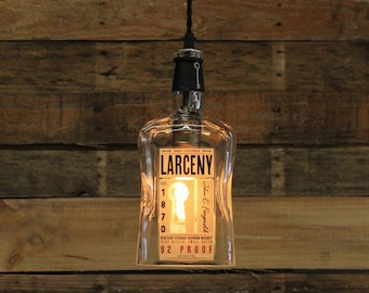 Larceny Bourbon Bottle Pendant Light - Upcycled Industrial Hanging Light - Handmade Bottle Light Fixture, Dorm Lighting, Father's Day Gift