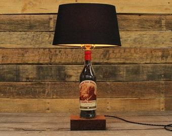 Pappy Van Winkle 20 Bourbon Bottle Lamp / Whiskey Bottle Light, Bourbon Barrel Char, Reclaimed Wood Base, Full Sized Lamp, Father's Day Gift