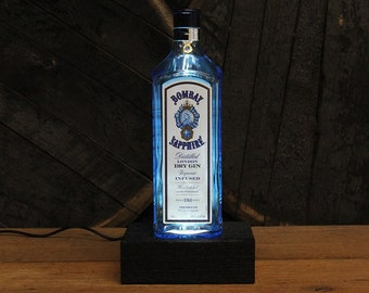 Bombay Sapphire Bottle Gin Light / Gin Bottle Desk Lamp / Handmade Tabletop Lamp / Upcycled Liquor Bottle Lighting / Bar Lamp / Gin Gifts