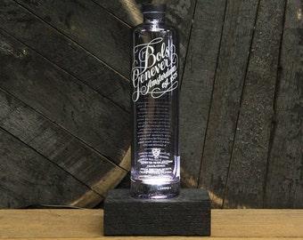 Bols Genever Gin Bottle LED Light / Reclaimed Wood Base & LED Desk Lamp / Handmade Tabletop Lamp / Upcycled Gin Bottle Lighting