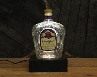 Crown Royal Whiskey Bottle Light / Reclaimed Wood Light / LED Desk Lamp / Handmade Tabletop Lamp / Upcycled Whiskey Bottle Lighting