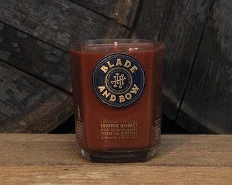 Blade & Bow Bourbon Candle - Recycled Bourbon Bottle Candle Handmade Soy Candle / Man Candle / Whiskey Gifts / Bourbon / Father's Day Gift