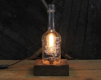 Sazerac Rye Whiskey Bottle Lamp - Features Reclaimed Wood Base, Edison Bulb, Twisted Cloth Wire, In line Switch, And Plug, Upcycled Light