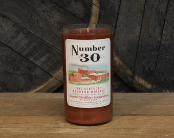 Number 30 Bourbon Whiskey Candle - Recycled Bourbon Bottle Candle Handmade Soy Candle 1 Liter Recycled Glass Bottle 22oz Soy Wax Candle