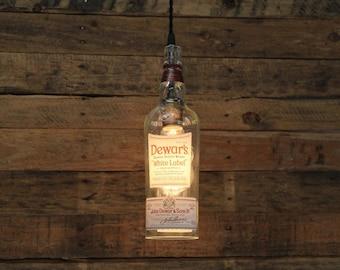 Dewar's White Label Pendant Light - Upcycled Industrial Hanging Light - Handmade Bottle Light Fixture, Dorm Lighting, Apartment Light