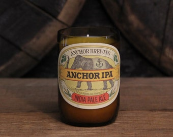 Upcycled Craft Beer Bottle Candle - Recycled Anchor IPA Beer Bottle Candle 10 oz. Handmade Soy Wax Candle Unique Beer Candle Microbrew