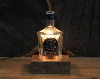 Blade & Bow Bourbon Bottle Light / Whiskey Bottle Lamp, Whiskey Gift, Edison Bulb, Twisted Cloth Wire, Bourbon Gift, Upcycled Light Fixture