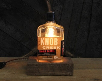 Knob Creek Single Barrel Bourbon Bottle Lamp, Features Reclaimed Wood Base, Edison Bulb, Twisted Cloth Wire, Father's Day Gift