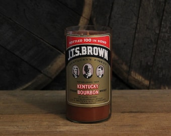 J.T.S. Brown Whiskey Bourbon Candle, Recycled Bourbon Bottle, 18oz Soy Candle, 750ml Recycled Glass Bottle, Groomsmen Gift, Man Cave Decor