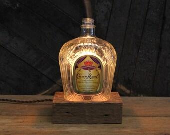 Crown Royal Whiskey Bottle Lamp / Bar Decor Lighting, Man Cave Gift, Reclaimed Wood Base, Edison Bulb, Upcycled Whisky Light, Desk Lamp