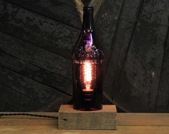 Handmade Recycled Antique Taylor & Williams Whiskey Bottle Desk Lamp, Features Reclaimed Wood Base, Twisted Cloth Wire, In line Switch